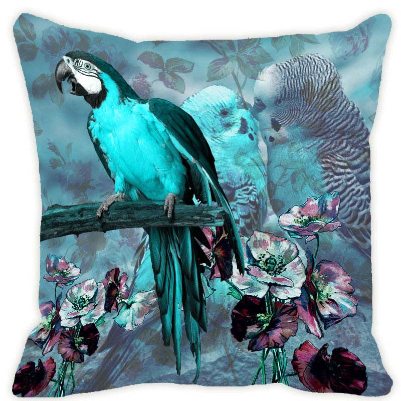 Leaf Designs Aqua Blue Parrot Cushion Cover