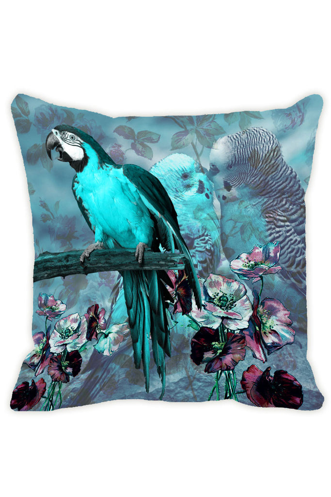 Leaf Designs Aqua Blue Parrot Cushion Cover - Set Of 2