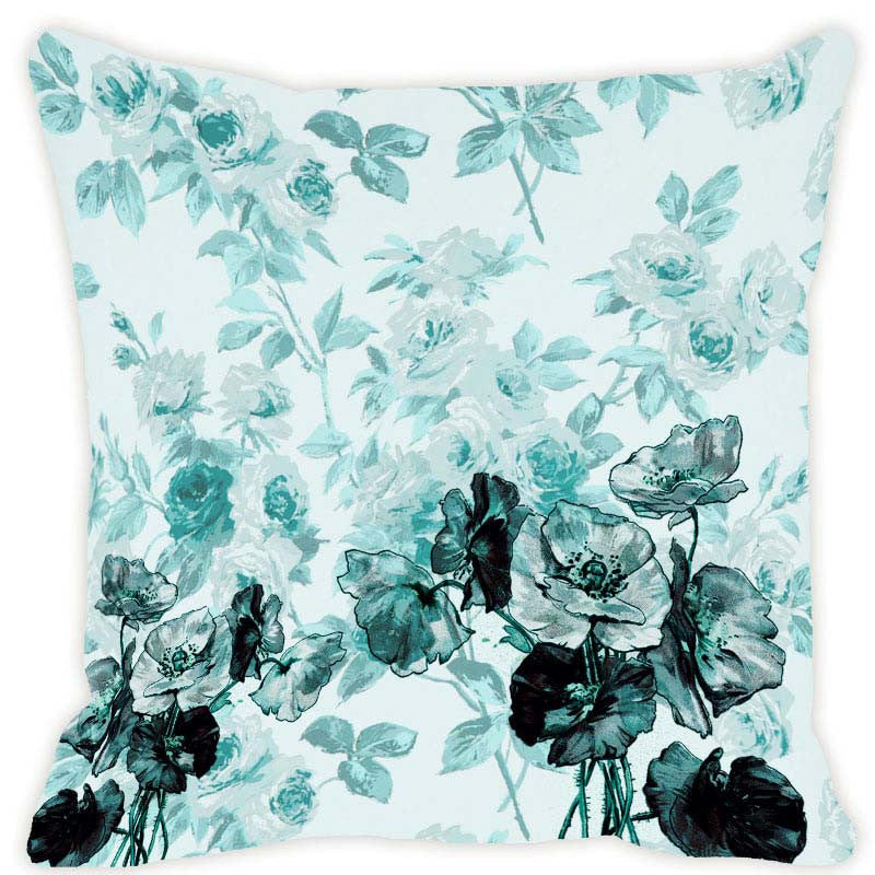 Leaf Designs Aqua Blue Blossom Cushion Cover