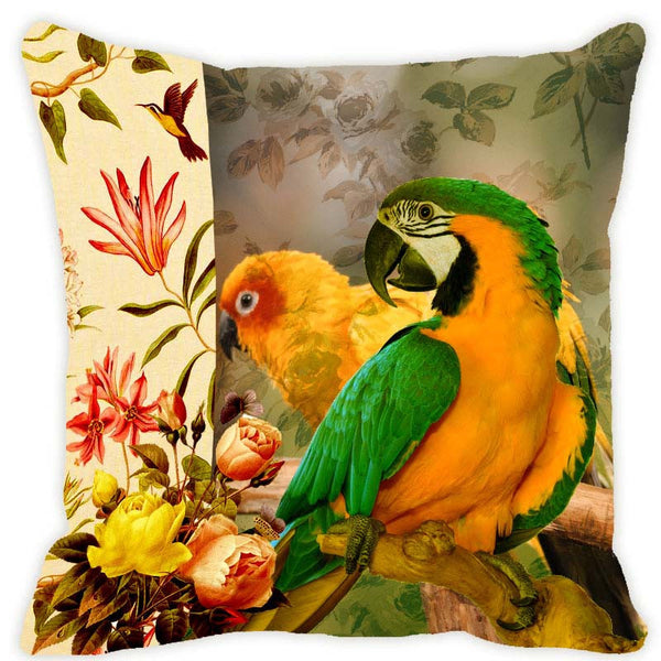 Leaf Designs Yellow Parrot Cushion Cover