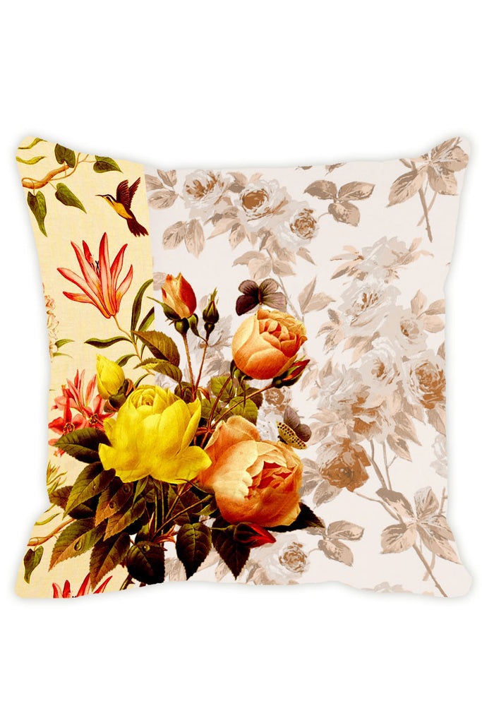 Leaf Designs Yellow Parrot Cushion Cover - Set Of 2