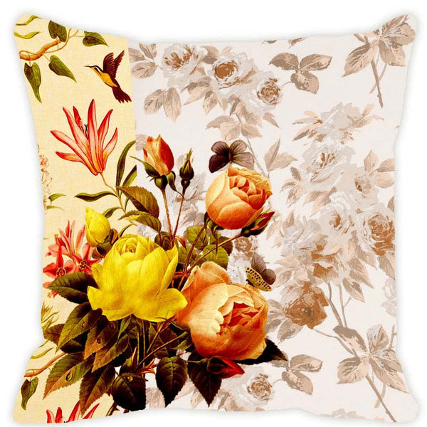 Leaf Designs Yellow Blossom Cushion Cover