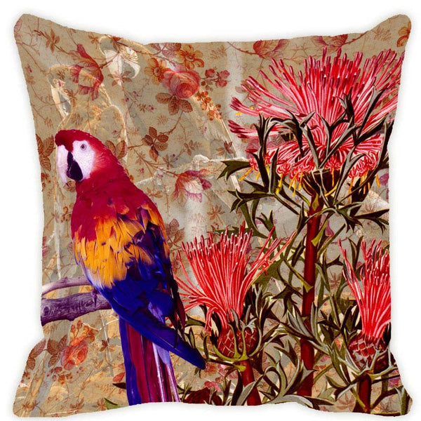 Leaf Designs Taupe & Pink Parrot Cushion Cover (A)
