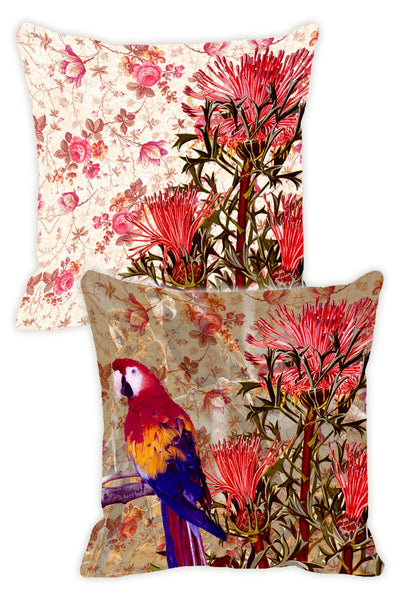 Leaf Designs Taupe & Pink Parrot Cushion Cover (A) - Set Of 2