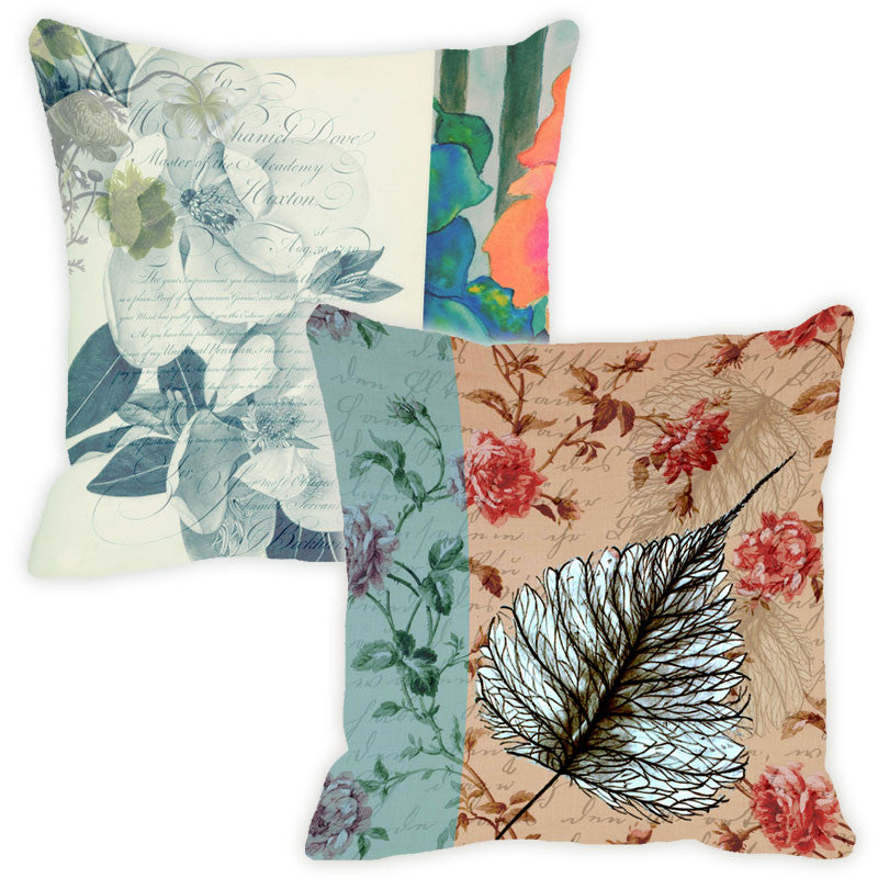 Leaf Designs Blue Floral Vintage Cushion Cover - Set Of 2