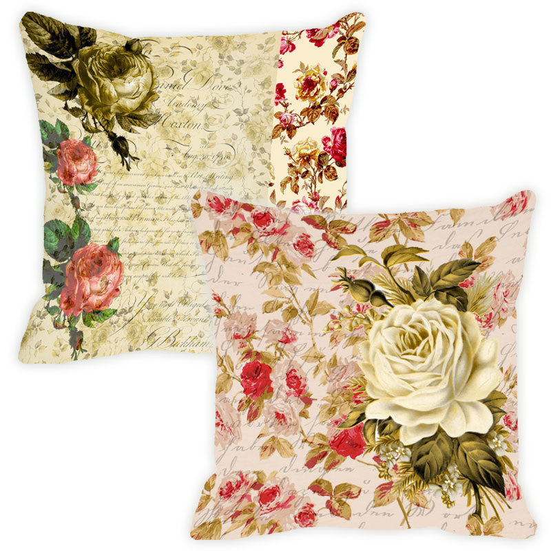 Leaf Designs Beige Floral Vintage Cushion Cover - Set Of 2