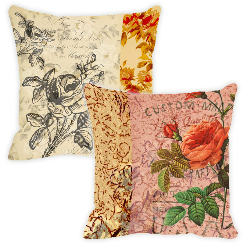 Leaf Designs Peach Floral Vintage Cushion Cover - Set Of 2
