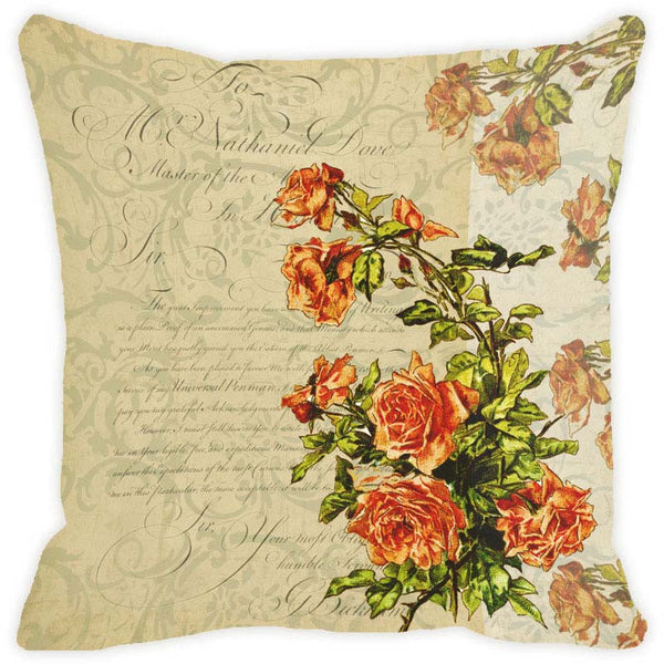 Leaf Designs Sepia Floral Vintage Cushion Cover - Set Of 2