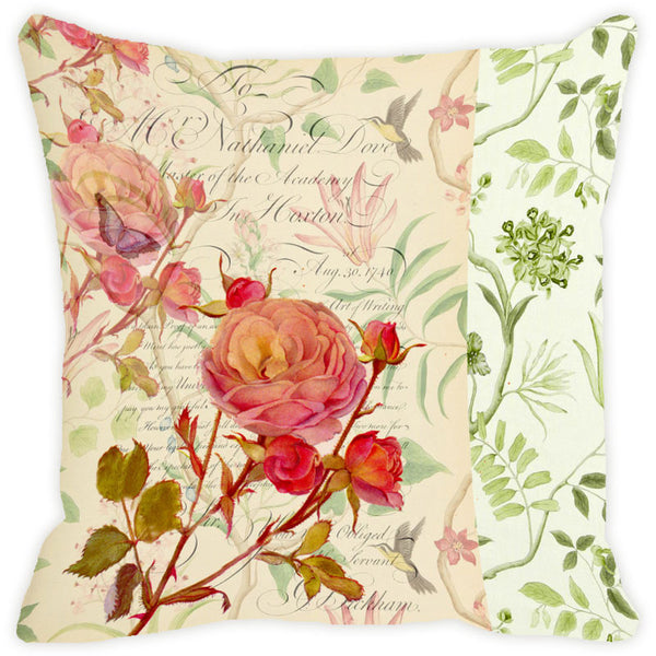 Leaf Designs Cream Floral Vintage Cushion Cover - Set Of 2