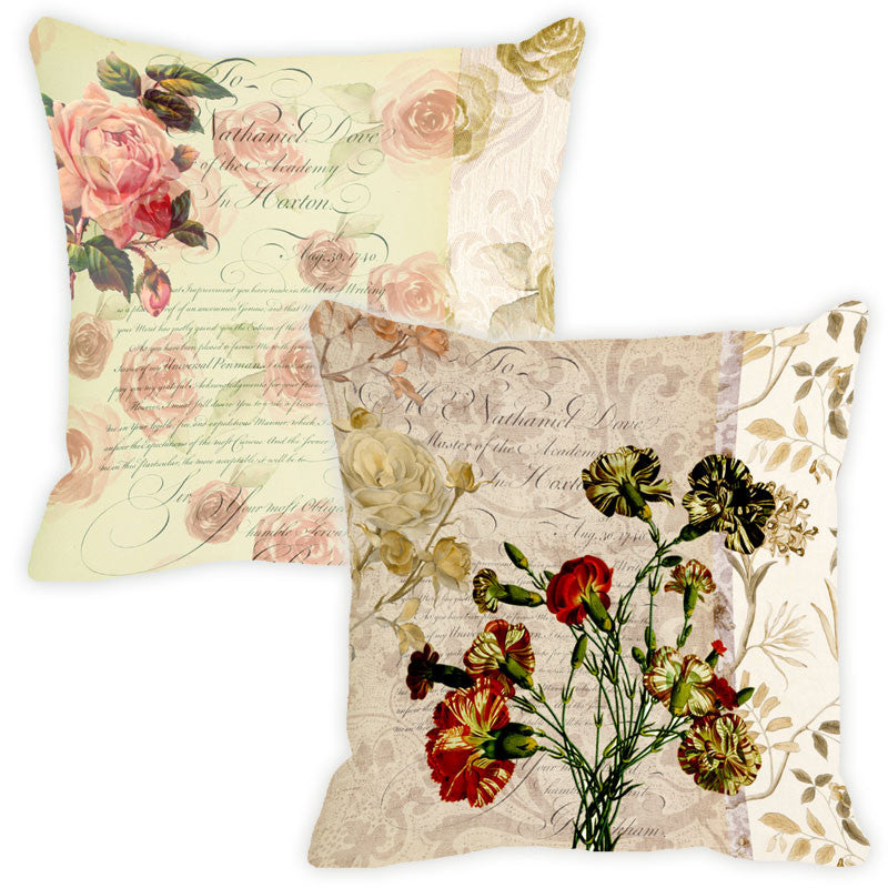 Leaf Designs Biscuit Floral Vintage Cushion Cover - Set Of 2