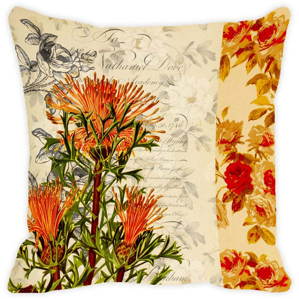 Leaf Designs Sandy Floral Vintage Cushion Cover - Set Of 2