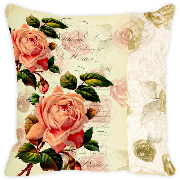 Leaf Designs Buff Floral Vintage Cushion Cover