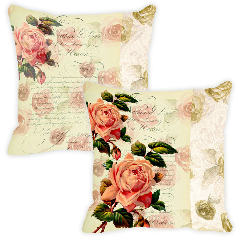 Leaf Designs Buff Floral Vintage Cushion Cover - Set Of 2
