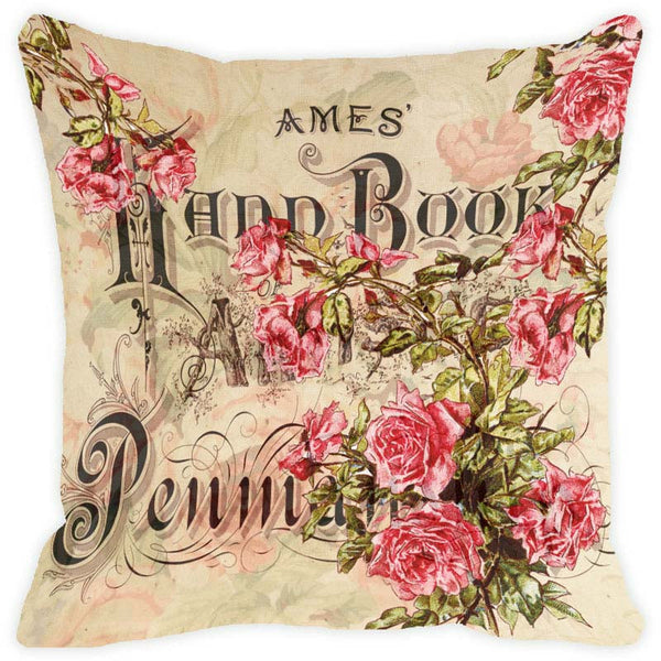 Leaf Designs Taupe Floral Vintage Cushion Cover