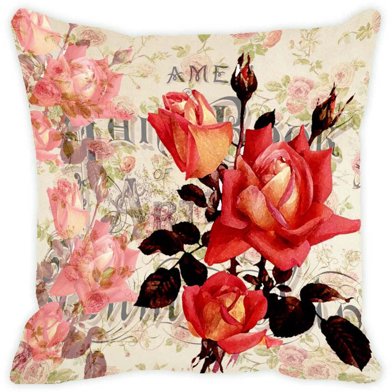 Leaf Designs Ecru Floral Vintage Cushion Cover