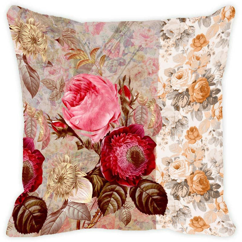 Leaf Designs Mushroom Floral Vintage Cushion Cover - Set Of 2