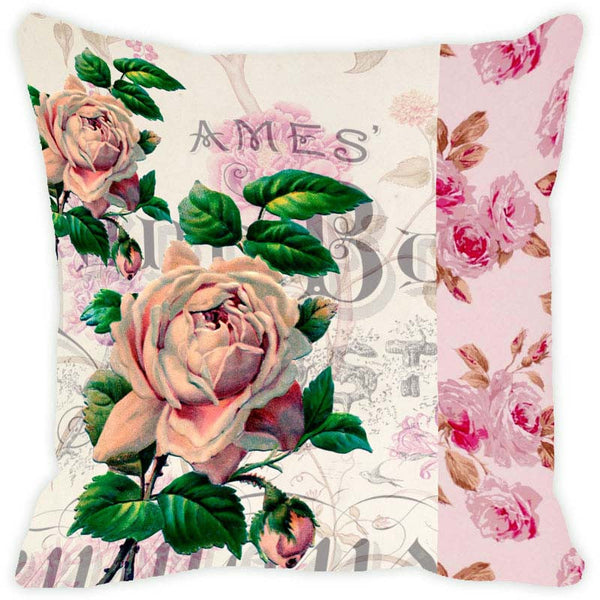 Leaf Designs Off White Floral Vintage Cushion Cover