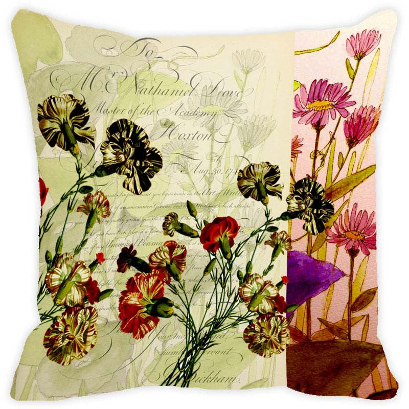 Leaf Designs Light Green Floral Vintage Cushion Cover