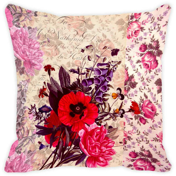 Leaf Designs Coffee Floral Vintage Cushion Cover - Set Of 2