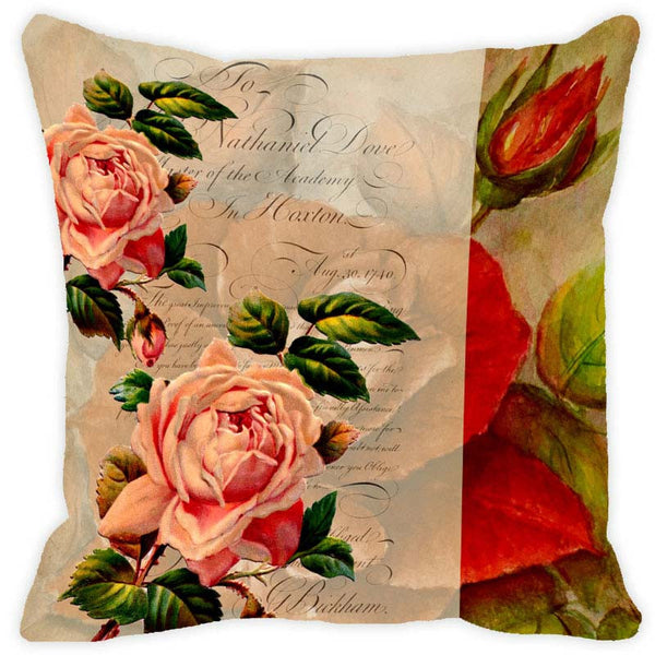 Leaf Designs Toffee Floral Vintage Cushion Cover - Set Of 2