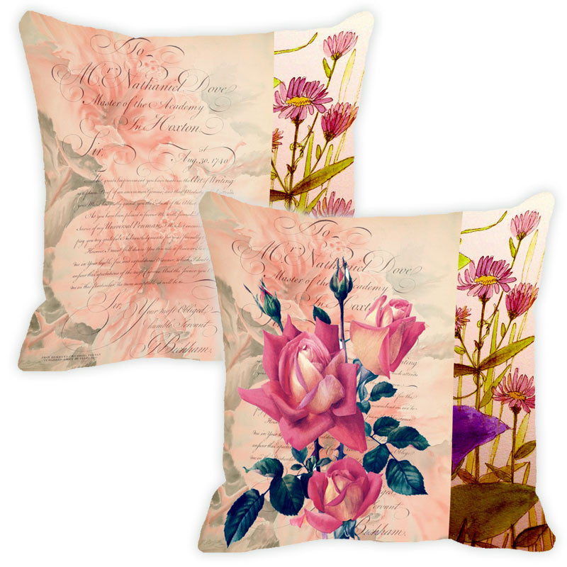 Leaf Designs Light Peach Floral Vintage Cushion Cover - Set Of 2