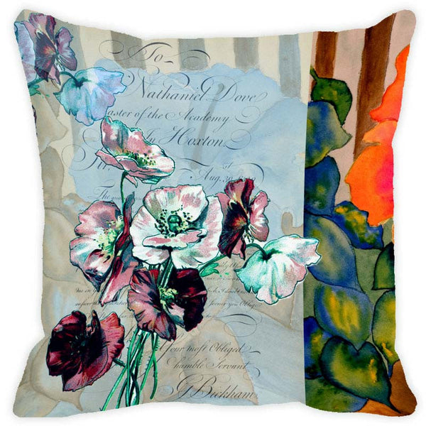 Leaf Designs Grey Floral Vintage Cushion Cover