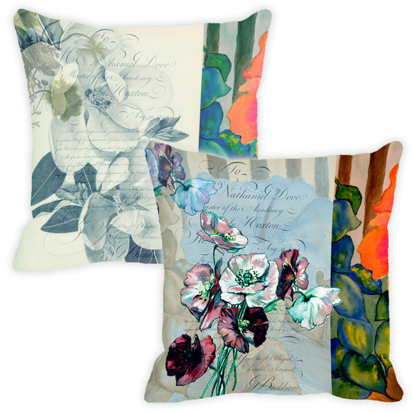 Leaf Designs Grey Floral Vintage Cushion Cover - Set Of 2