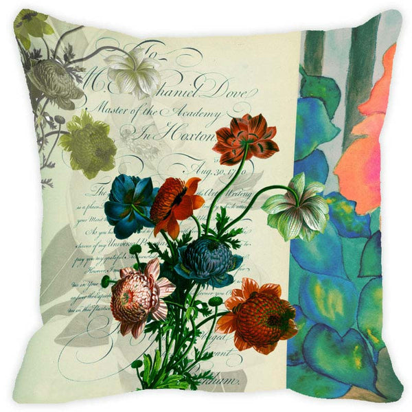 Leaf Designs Sap Green Floral Vintage Cushion Cover
