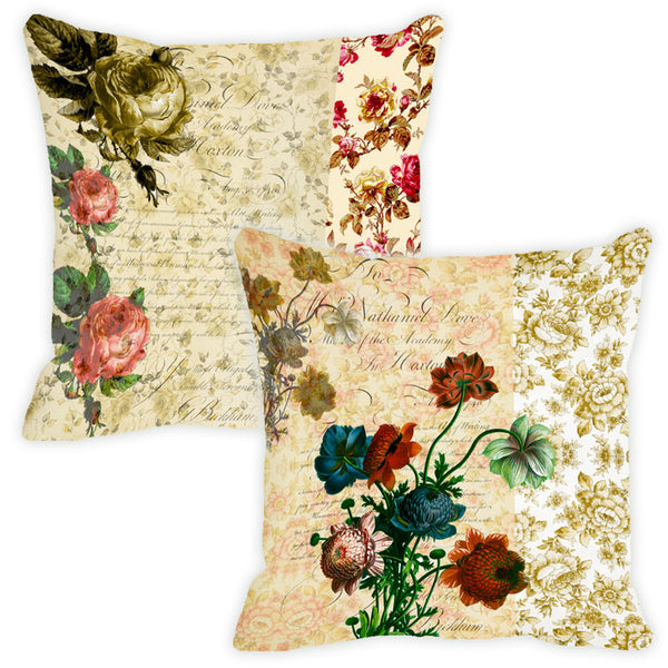 Leaf Designs Camel Floral Vintage Cushion Cover - Set Of 2