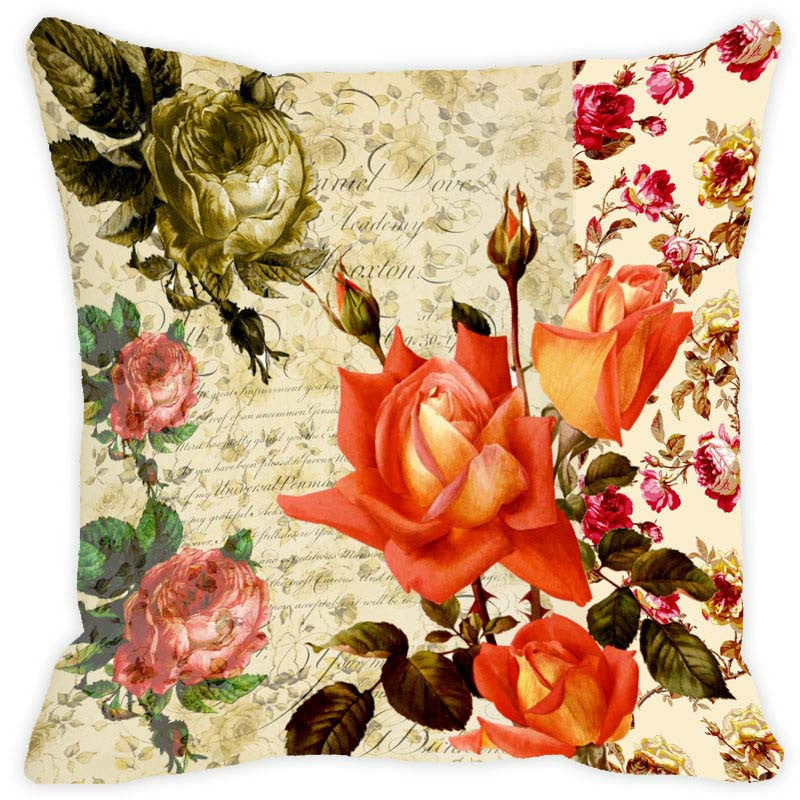 Leaf Designs Café Floral Vintage Cushion Cover - Set Of 2