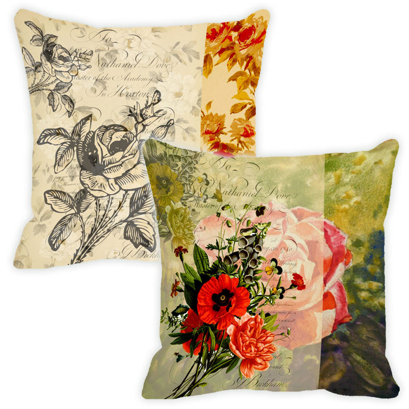 Leaf Designs So Green Floral Vintage Cushion Cover - Set Of 2