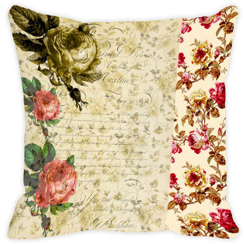 Leaf Designs Beige & Green Floral Vintage Cushion Cover