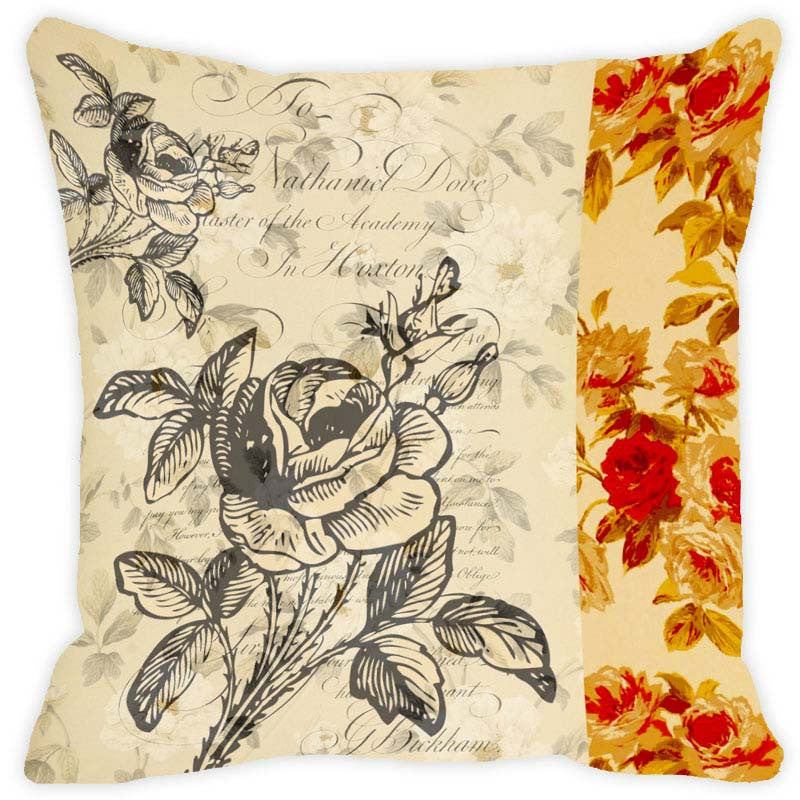 Leaf Designs Beige & Yellow Floral Vintage Cushion Cover