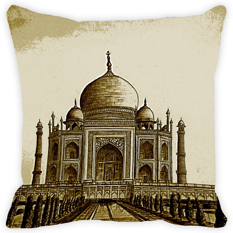 Leaf Designs Sap Green Taj Mahal Cushion Cover