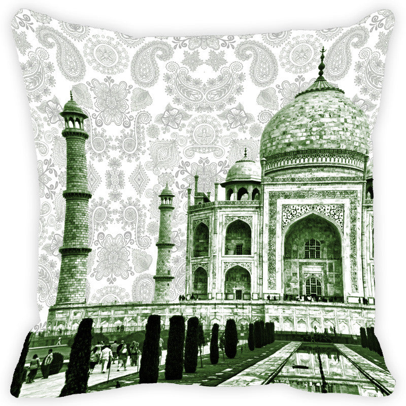 Leaf Designs Taj Mahal & Paisley Cushion Cover