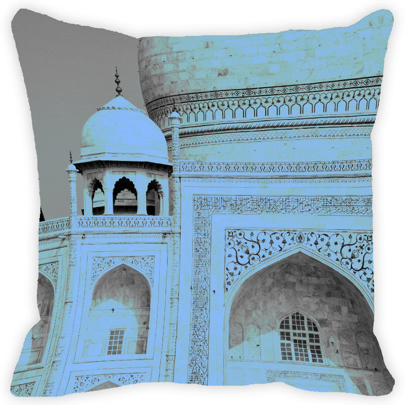 Leaf Designs Grey Taj Mahal Cushion Cover