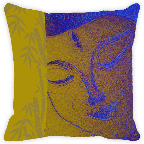 Leaf Designs Yellow Buddha Cushion Cover