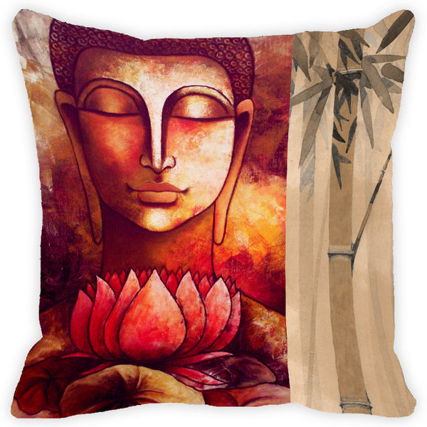 Leaf Designs Orange Tones Buddha Cushion Cover