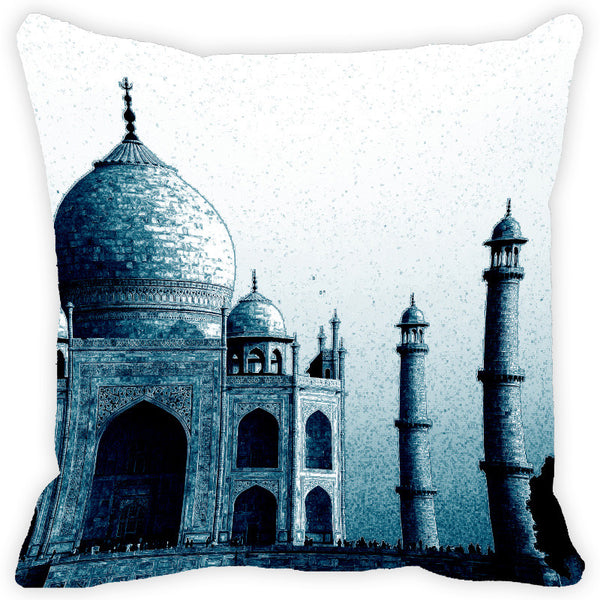 Leaf Designs Blue Taj Mahal Cushion Cover