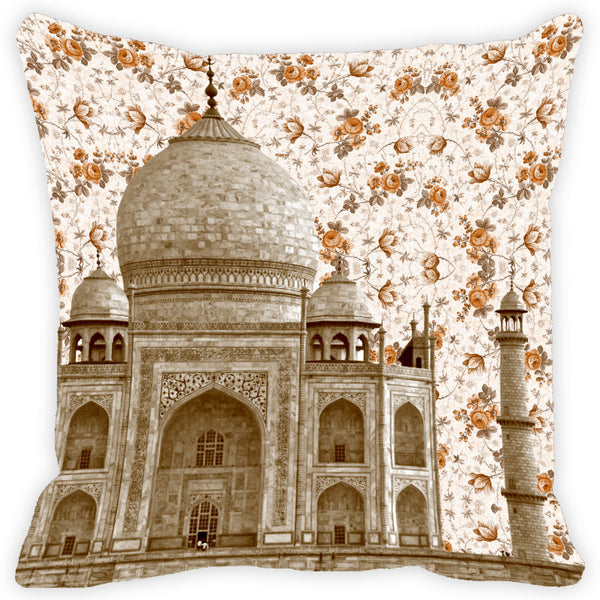 Leaf Designs Cream Floral Taj Mahal Cushion Cover