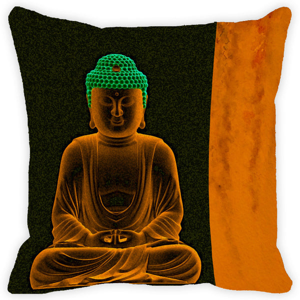 Leaf Designs Buddha Yellow & Black Cushion Cover