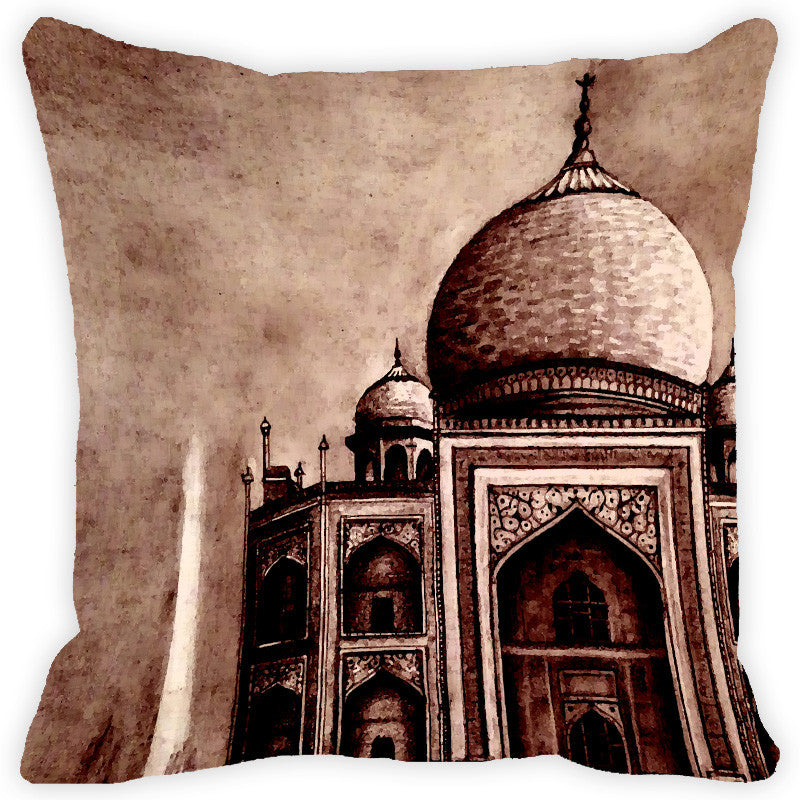 Leaf Designs Brown Taj Mahal Cushion Cover
