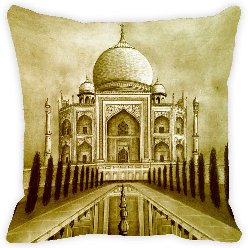 Leaf Designs Pale Green Taj Mahal Cushion Cover