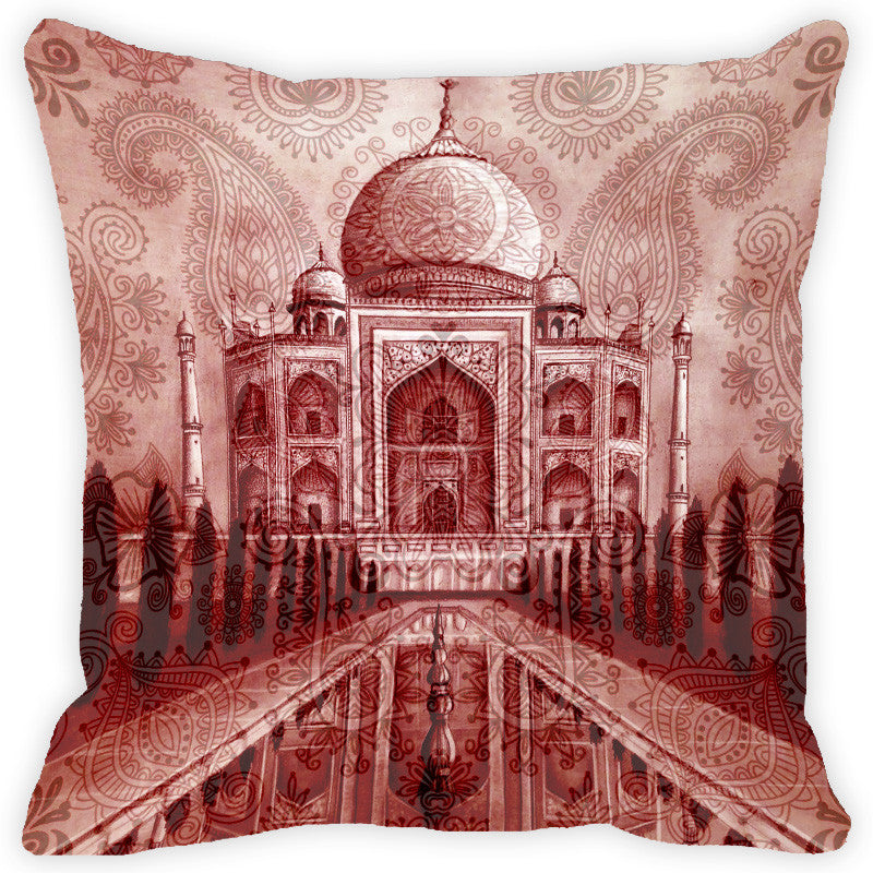 Leaf Designs Brick Red Taj Mahal Cushion Cover