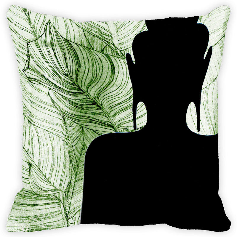 Leaf Designs Buddha Black & Green Cushion Cover
