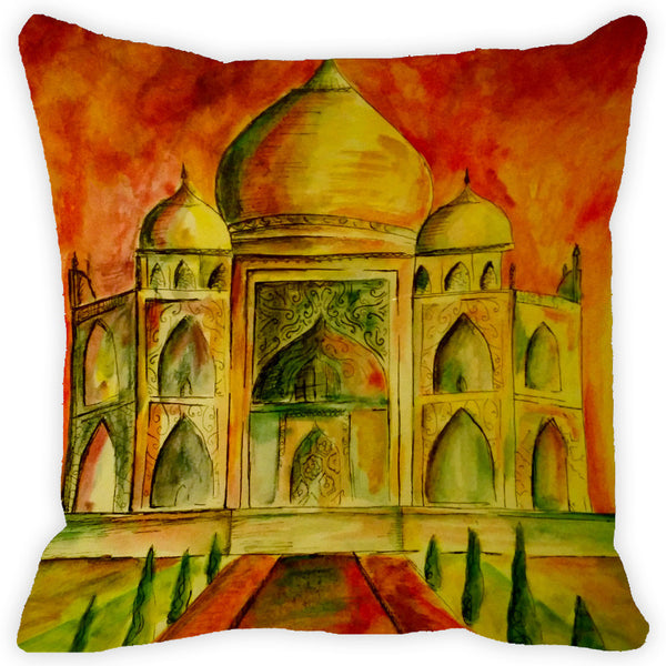 Leaf Designs Red & Yellow Taj Mahal Cushion Cover