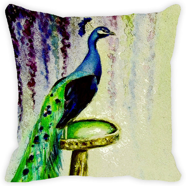 Leaf Designs Blue Green Peacock Cushion Cover