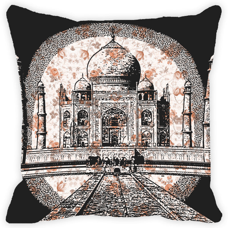 Leaf Designs Floral Black & White Taj Mahal Cushion Cover