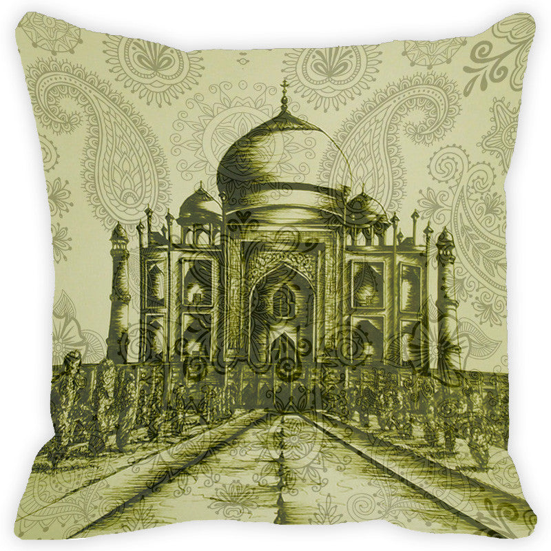 Leaf Designs Green Taj Mahal & Paisley Cushion Cover