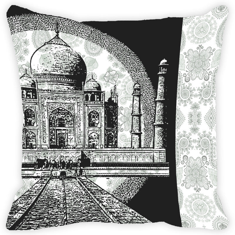 Leaf Designs Black & White Taj Mahal & Paisley Cushion Cover